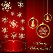 Красный вектор Рождество пригласительный билет — Cтоковый вектор