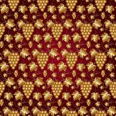 红葡萄与叶子矢量金色无缝模式 — 图库矢量图片