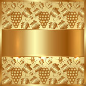 Vector Golden Plate with Grapes and Leaves Background — Vetorial Stock