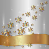 Vector Silver Plate with Snowflakes and Golden Ribbon — Vettoriale Stock