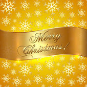 Vector Yellow Background with Snowflakes and Greeting Golden Ribbon — Stockvektor