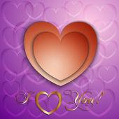 вектор бумаги вырежьте валентина карты с сердечками — Cтоковый вектор