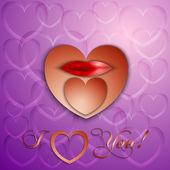 Vektorové papíru řezu valentine karta s srdce a rty — Stock vektor