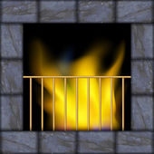 Vector illustration of fire in the fireplace — Stok Vektör
