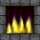 Vector illustration of fire in the fireplace — Vector de stock