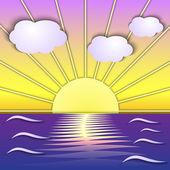 Vector abstract sea sunrise scene — Stockvektor