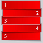 Vector red paper enumerated banner list — Stock Vector