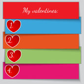 Vector multicolor paper enumerated valentine list — Stock Vector