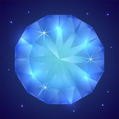Vector illustration of precious sapphire gemstone — Stock Vector