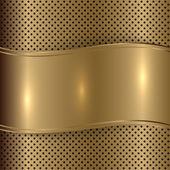 Vector gold brushed metallic plaque background — Stock Vector