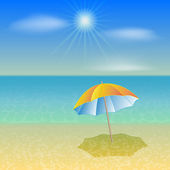 Vector illustration of sunny sea beach with umbrella — Stock Vector