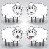 Vector cartoon illustration of sheep — Stock Vector