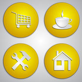 Vector set of round yellow site icons with paper cut image — Stock Vector