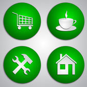 Vector set of round green site icons with paper cut image — Wektor stockowy