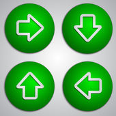Vector set of round green arrow buttons with paper cut image — Vector de stock