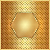 Vector abstract metal gold hexagon with cells — Stock Vector