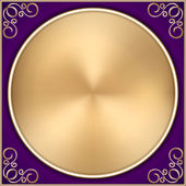 Vector abstract gold circle on purple background with ornament — Vetorial Stock