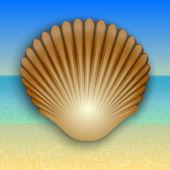 Vector gold shell illustration on the summer sea beach — Stock Vector