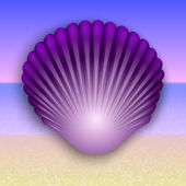 Vector purple shell illustration on the summer sea beach — Stock vektor