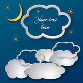 Vector abstract paper collage illustration of night sky with clouds  and place for text — Stock Vector