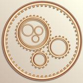 Vector illustration of metallic copper gear wheels — Vector de stock