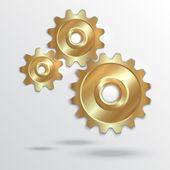 Vector illustration of metallic golden cogwheels — Vector de stock