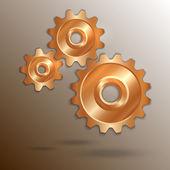 Vektor-illustration von metallischem kupfer zahnräder — Stockvektor