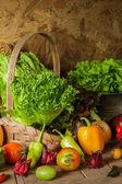 Natürmort sebzeler, otlar ve meyveler. — Stok fotoğraf