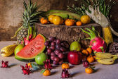 Still life with on the timber full of fruit. — Stock Photo