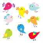 Set of cute cartoon birds — Stock Vector