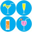 Stock Vector: Set of drinks, cocktails