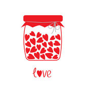 Love bottle with hearts inside. Card — Stock Vector