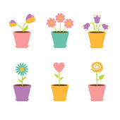 Set of flowers in pots — Stock Vector