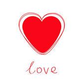 Kırmızı kalp aşk kartı. — Stok Vektör
