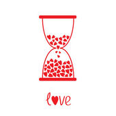 Love hourglass with hearts inside. Card — ストックベクタ