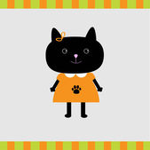 Cartoon black cat girl card — Stock Vector