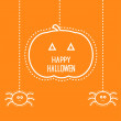 Halloween card with hanging pumpkin and two spiders. — Stock Vector #30516721
