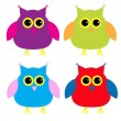 Set of cute cartoon owls — Stock Vector #30516745