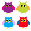 Stock Vector: Set of cute cartoon owls
