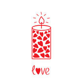 Love candle with hearts. Card — Stock Vector