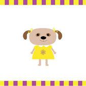 Tarjeta de chica de perro de dibujos animados — Vector de stock