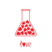 Love laboratory glass with hearts inside. Card — Stock Vector