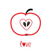 Czerwone jabłko z kształt serca. miłość karty wektor. — Wektor stockowy