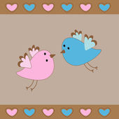 Cute birds love card. — Stock Vector