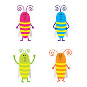 Set of cute cartoon cockroach — Stock Vector
