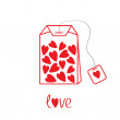 Teabag with hearts. Love card — Stock Vector