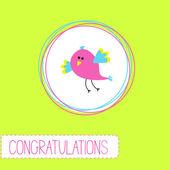 Congratulations card with cute bird — Stock Vector