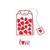 Bolsita con corazones. tarjeta de amor — Vector de stock