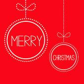 Twee rode kerstballen met strik opknoping. kaart. — Stockvector