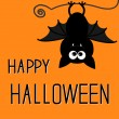 Cute bat. Happy Halloween card. — Stock Vector